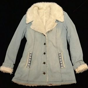 Free People embroidered denim coat